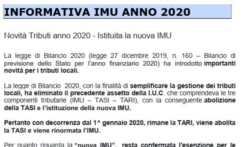 Informativa IMU 2020 Comune di Capoterra